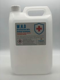 5 litre liquid hand sanitiser formulated to W.H.O directives