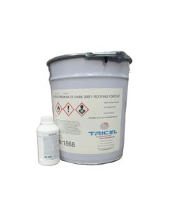 Fire retardant fibreglass roofing topcoat